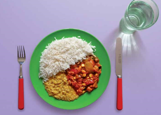 Vegetable curry with lentil and rice recipe