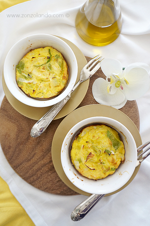 Frittata di porri ricetta facile e veloce anche come antipasto monoporzione - leek omelette recipe