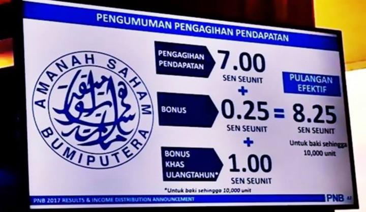 Bonus Khas ASB 1 Sen Seunit Dari PNB Masuk Akaun Mulai 1 Mac 2018