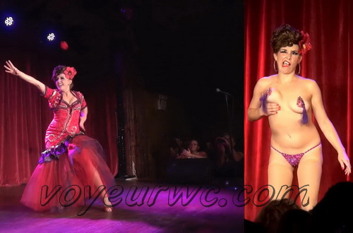 Performing nude in front of a live audience. Burlesque strip tease dance (Naked Theater 19)