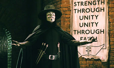 Hugo Weaving as V in V for Vendetta, Wearing a Guy Fawkes Mask, Directed by James McTeigue