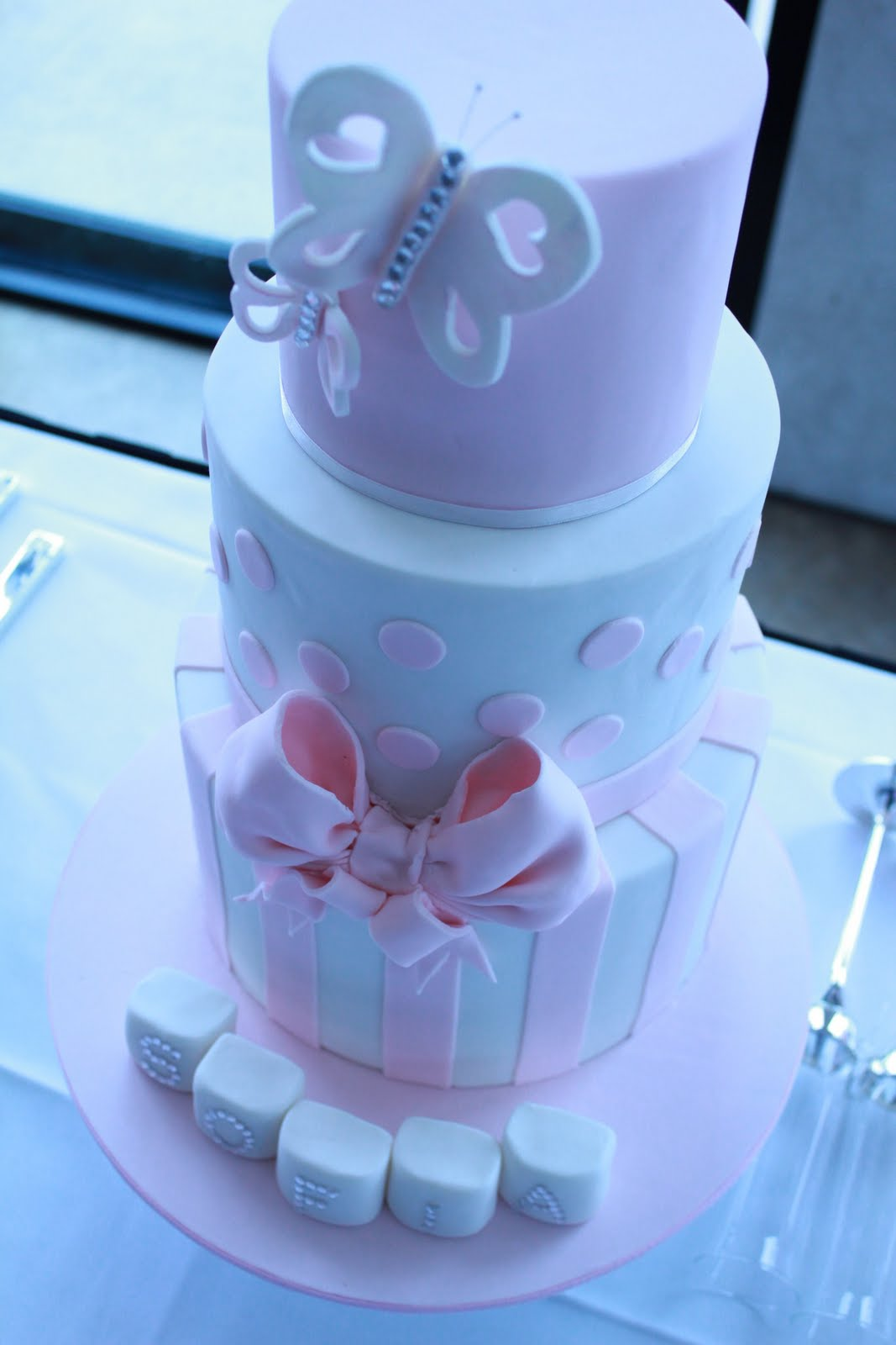 Blissfully Sweet Butterflies Amp Crystals Christening Cake
