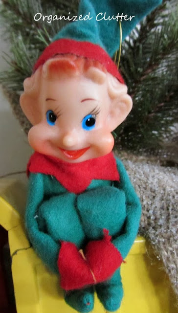 Vintage Christmas elf plastic and cloth www.organizedclutterqueen.blogspot.com
