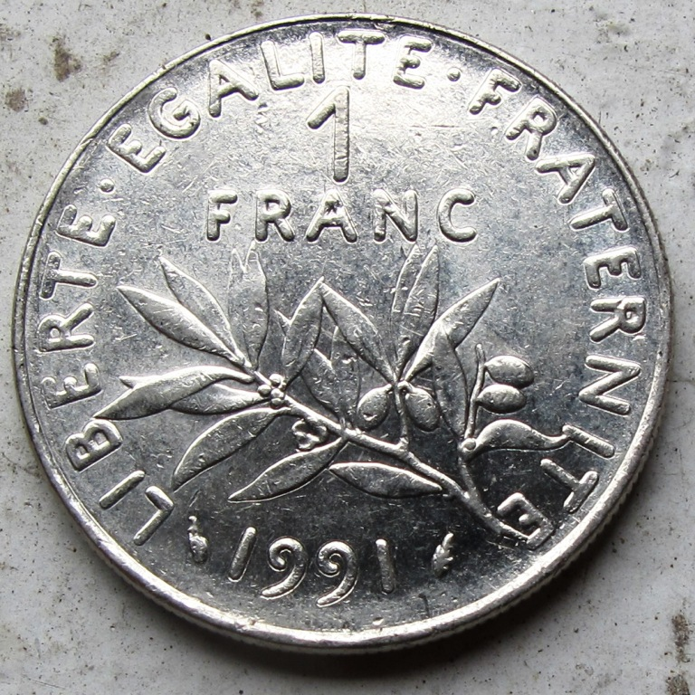 Liberte Egalite Fraternite 1 Franc 1991