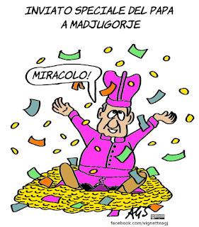 Medjugorje, fedeli, papa francesco, miracoli, vignetta, satira