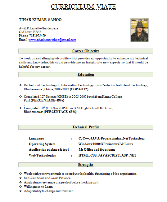 resume for freshers sample abgc