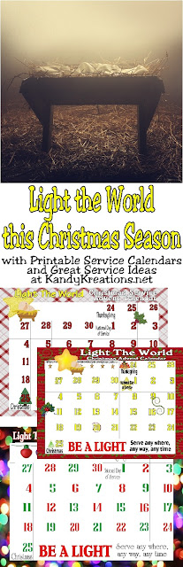 Let your light so shine this Christmas and bring Christ back into Christmas.  Be the Light with a month of service for your and your family with these printable calendars and service ideas.