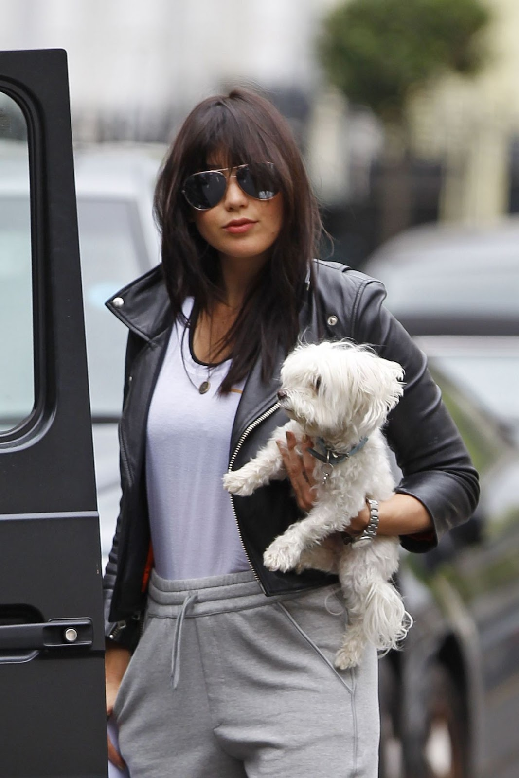 Daisy Lowe Out with Dog In London