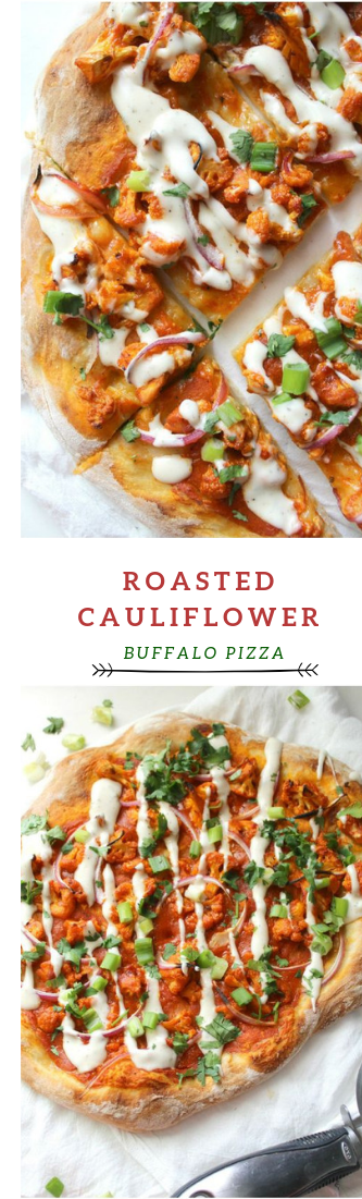 ROASTED CAULIFLOWER BUFFALO PIZZA #pizza #food