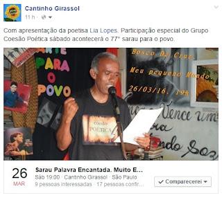 Apresentação LIA LOPES - participação COESÃO POÉTICA