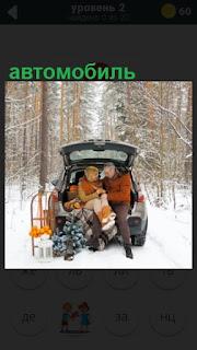 зимой двое сидят в открытом  багажнике автомобиля