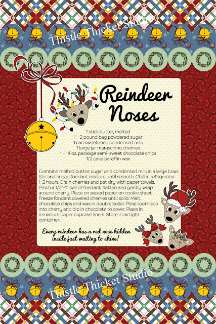 Oh Deer, It's Christmas! Reindeer Noses Recipe Tea Towel Mockup Designed By Thistle Thicket Studio. www.thistlethicketstudio.com