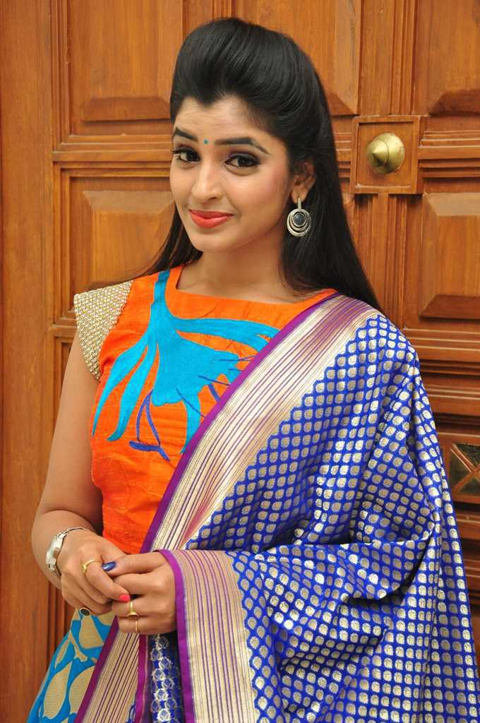 Tv Anchor Shyamala Stills At Birthday Celebrations In Blue Half Saree