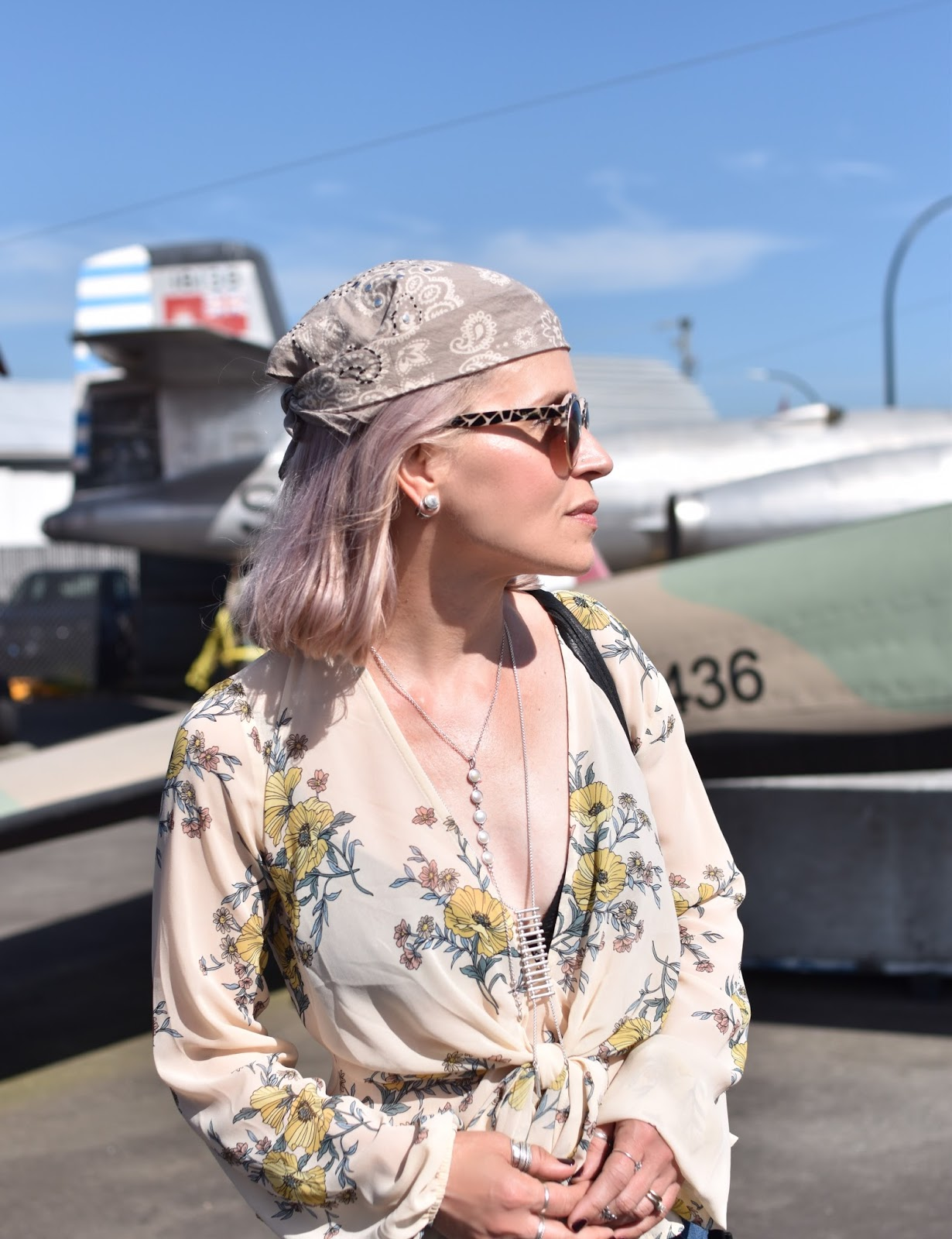 Monika Faulkner outfit inspiration - tie-front floral blouse, bandana head scarf, Nanette sunglasses