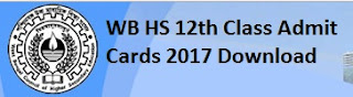 WB HS 12th (10+2) Admit cards 2017