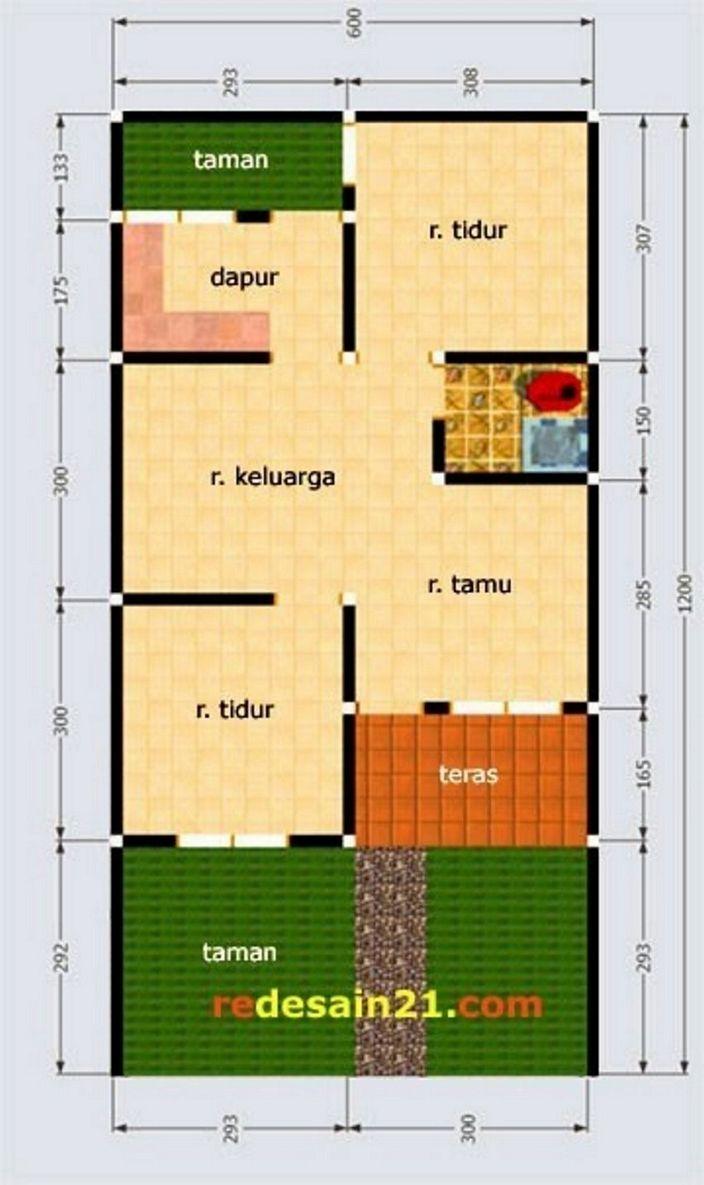 denah rumah luas tanah 100 m2 kreatif
