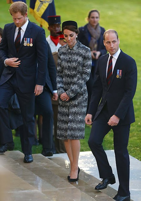 The Duke and Duchess of Cambridge and Prince Harry attend part of a military-led vigil to commemorate the 100th anniversary of the beginning of the Battle of the Somme at the Thiepval memorial to the Missing