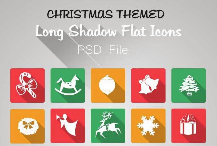 Flat Long Shadow Free Christmas Icon Set (PSD)