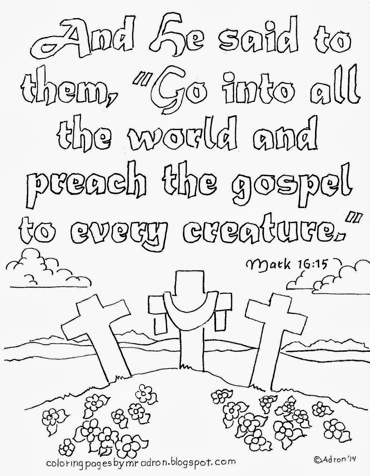 An illustration for Mark 16:15 to print and color.