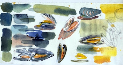 Moules watercolor by Carol Gillott