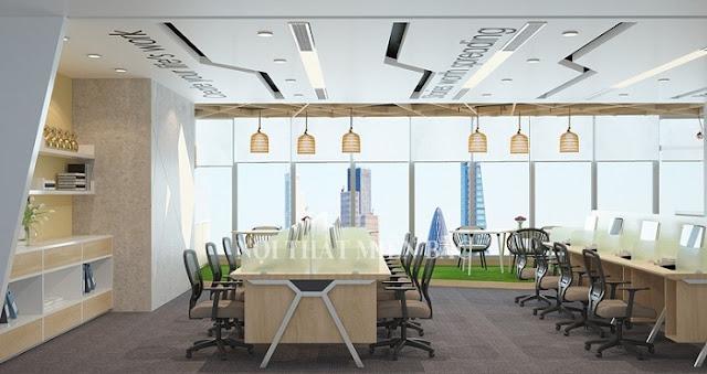 Điểm đặc biệt nhất của thiết kế văn phòng hiện đại này là được  bố trí nội thất văn phòng khoa học, thông minh