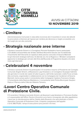 CITTA' DI SOVERIA MANNELLI    AVVISI AI CITTADINI  - 10 NOVEMBRE 2019