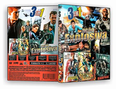 CAPA DVD – Ação Explosiva 3 Em 1 – ISO
