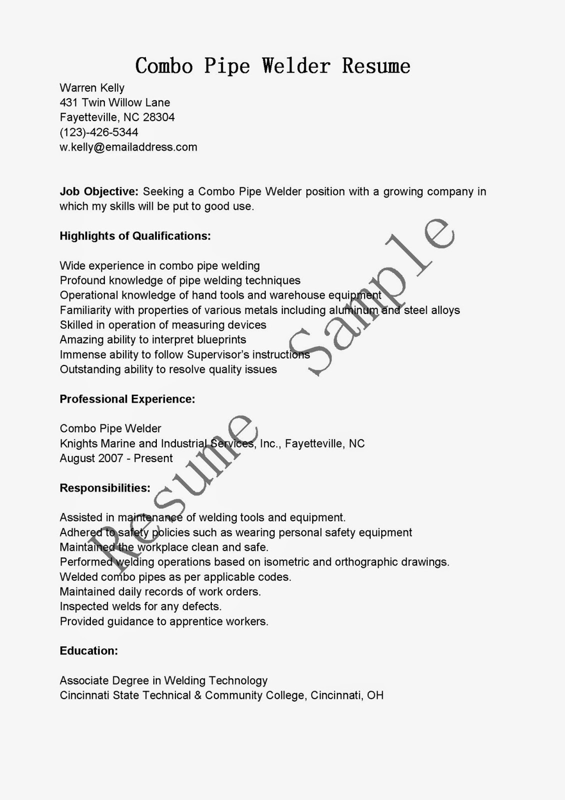 Resume For Welder Job Resume Samples Combo Pipe Welder Resume Sample