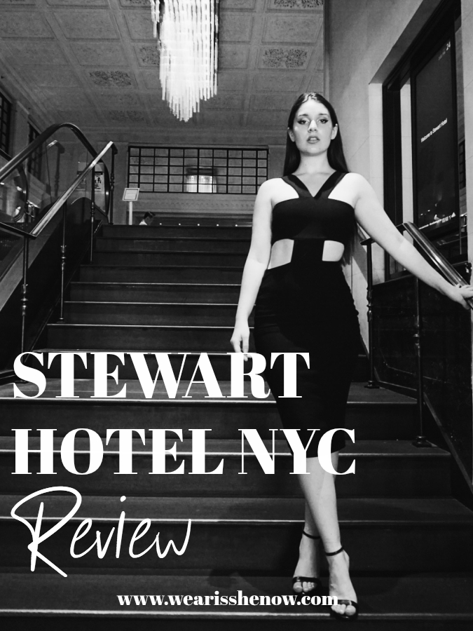 a girl standing in the Stewart hotel NYC