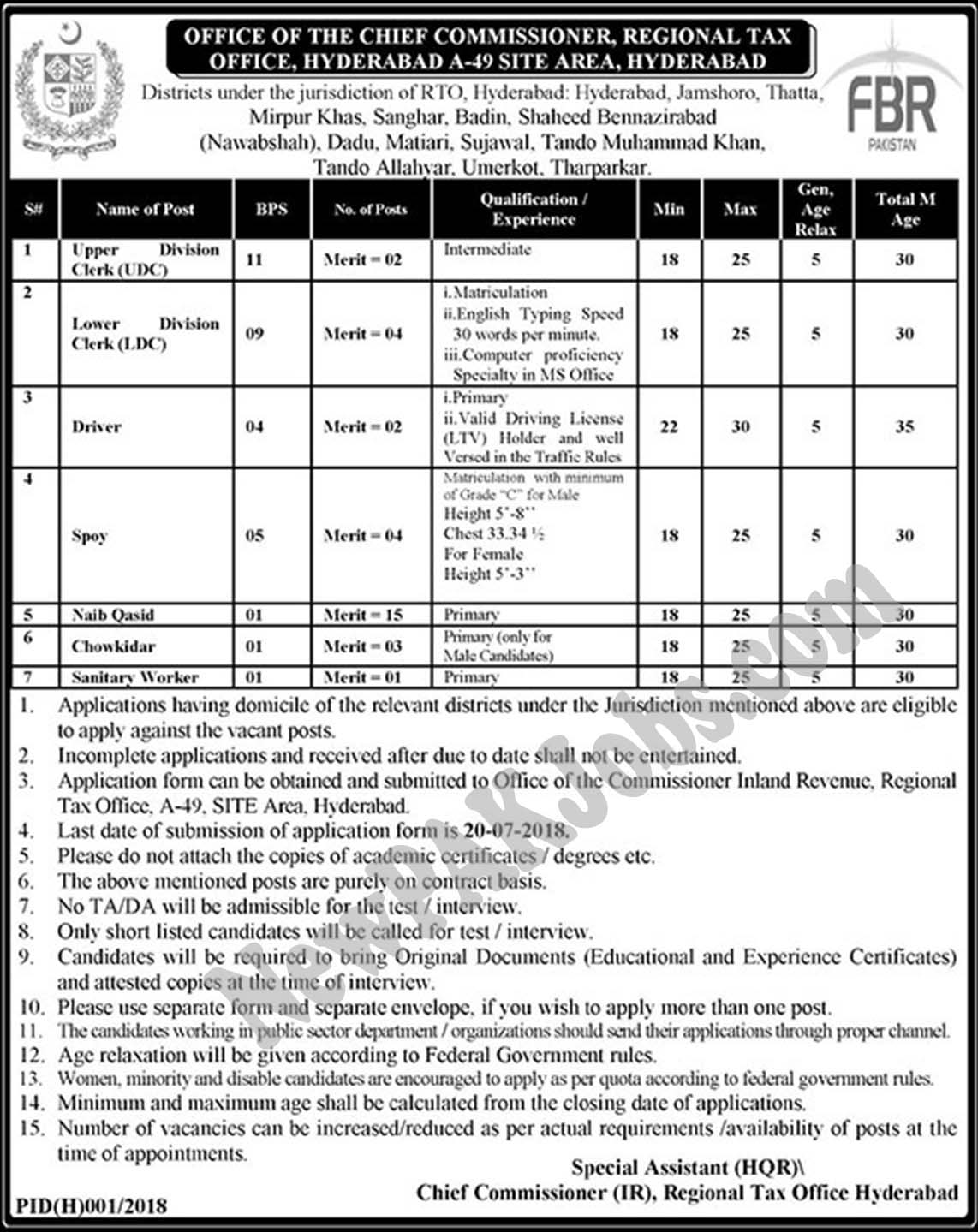 FBR Jobs July 2018 The Chief Commissioner Regional Tax Office