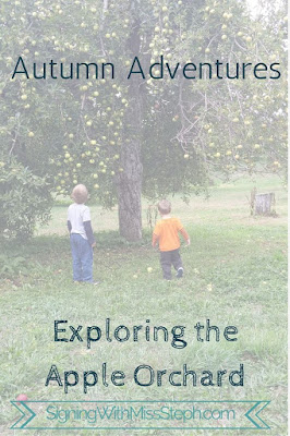 Boys standing under apple tree with title Autumn Adventures: Exploring the Apple Orchard