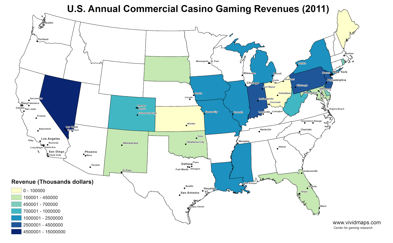 U.S. Annual Commercial Casino Gaming Revenues (2011)