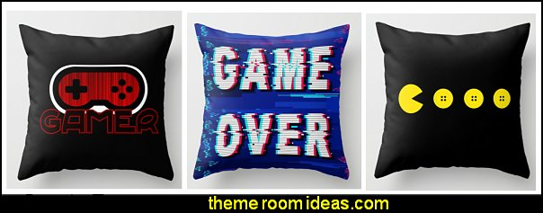 gamer throw pillows retro gamer throw pillows  Gamer bedroom - Video game room decor - gamer bedroom furniture - gamer wall decal stickers - Super Mario Brothers Wall Stickers - gamer bedding - Super Mario Brothers bedding - Pacman decor -  Retro Arcade bedrooms - 80s video gamers - gamer throw pllows