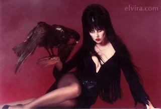 Elvira meets the raven
