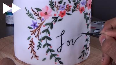 pastel pintado a mano decoración de pasteles