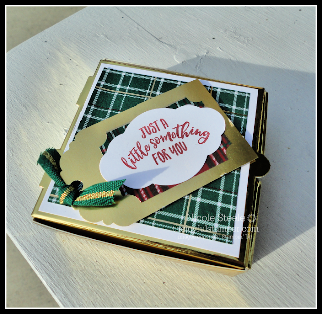 Stampin' Up! gold pizza box gift card holder | made by Lori Brausen Duchess of Design