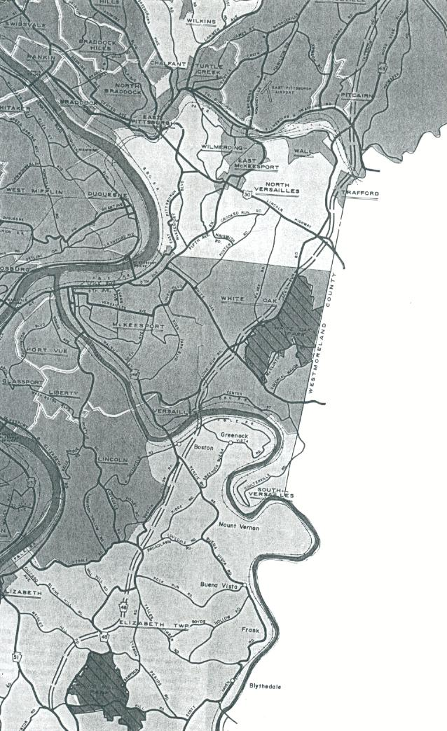 The new pa 48 the unbuilt eastern allegheny county freeway 1973 allegheny county map showing another routing of the new 48 publicscrutiny Images