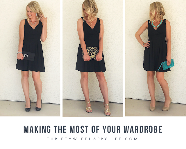 Thrifty Wife, Happy Life | Making the Most of your Wardrobe | 3 ways to accessorize a simple black dress for a special occasion