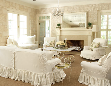 This Country Feeling Room Is Like A Breath Of Fresh Air With All The White Slipcovers