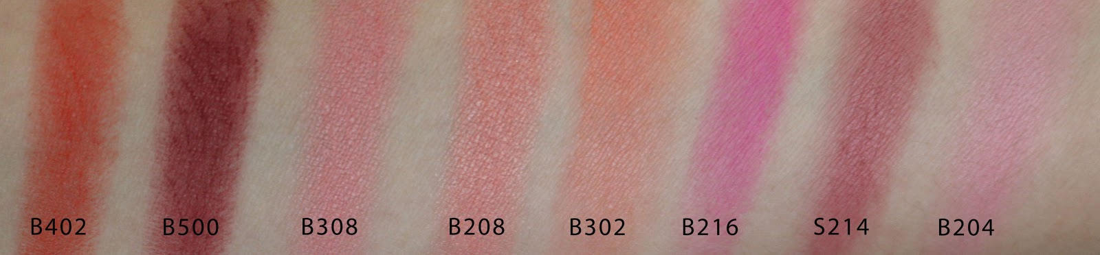 make up for ever artist face color B402 B500 B208 B302 B308 B216 S214 B204 swatches