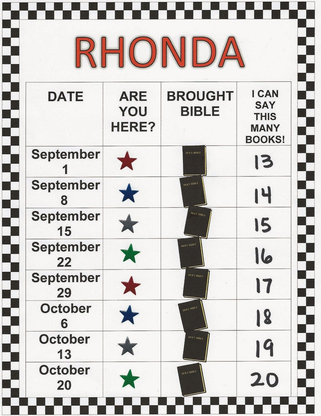 Children S Bible Lessons Attendance Charts