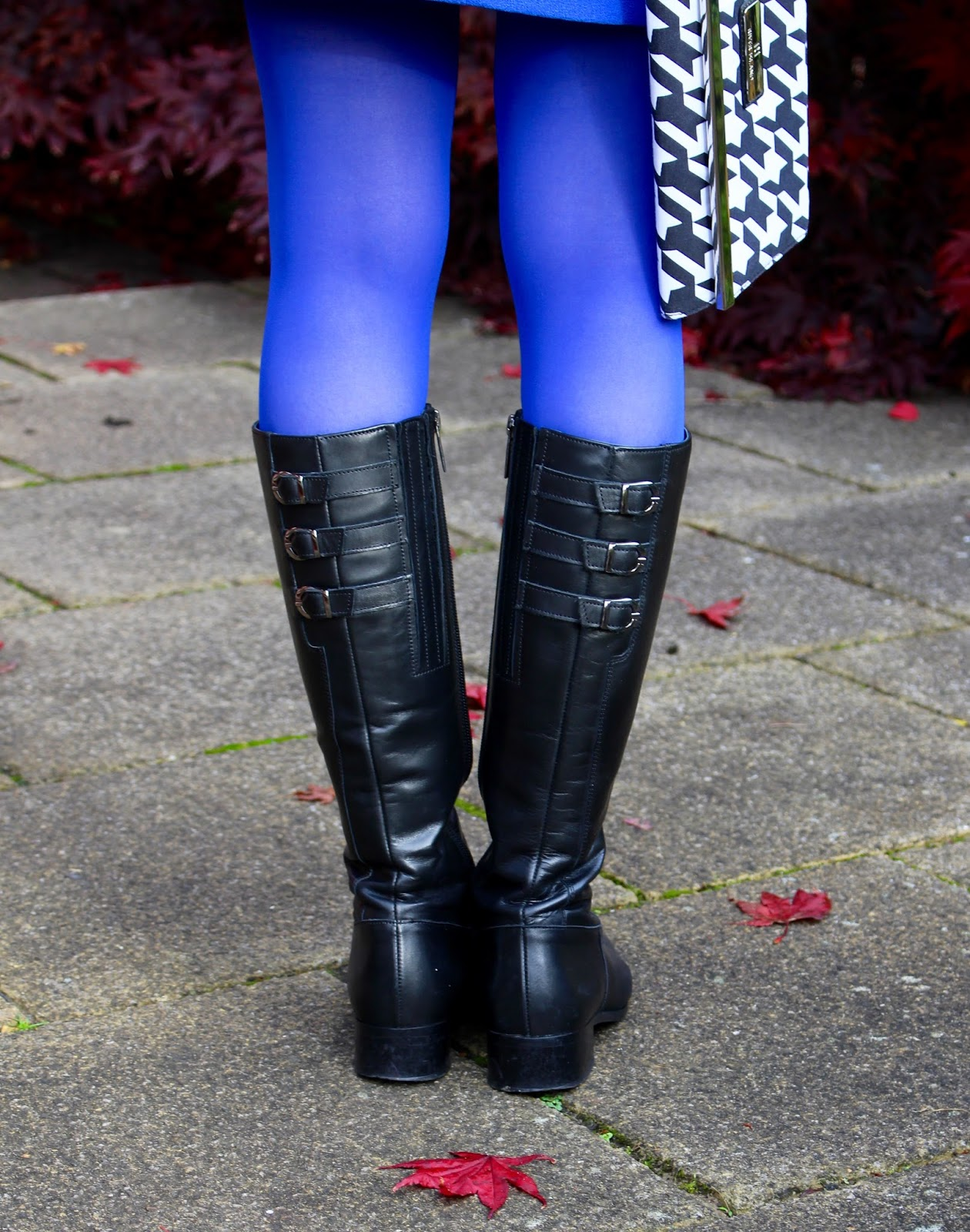 Cobalt Blue and Black Leather boots | Fake fabulous