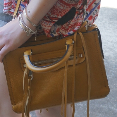 Cross body Rebecca Minkoff micro Regan satchel bag in Harvest Gold | AwayFromTheBlue