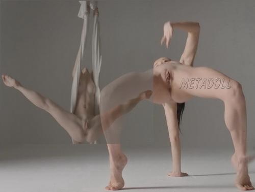 Nude aerial contortion in silk