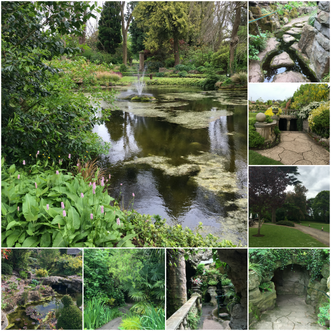 collage of views of gardens and grottoes