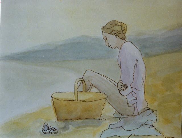 Cristina Alonso arte original acuarela mujer en la playa pensamientos nostalgia arte amable