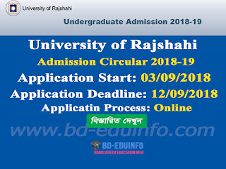 University of Rajshahi Undergraduate Admission Test Circular 2018-19