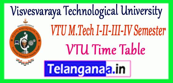 VTU Visvesvaraya Technological University M.Tech 1st 2nd 3rd 4th Semester Time Table