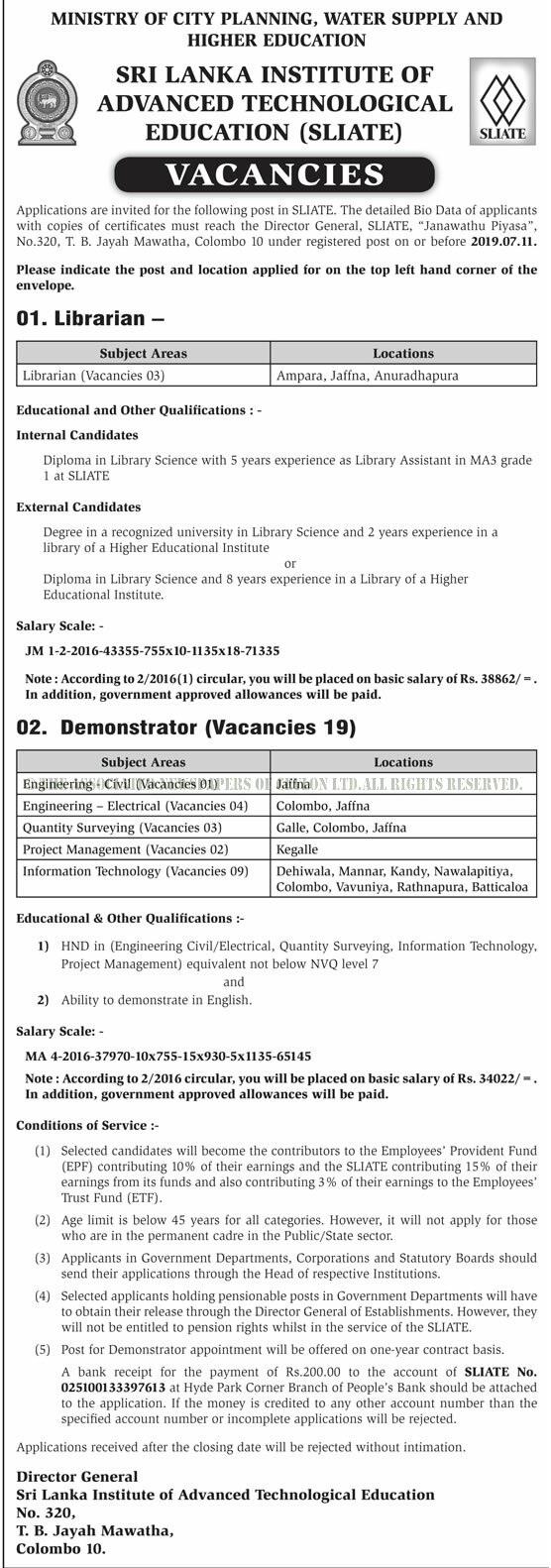 Vacancies at Sri Lanka Institute of Advanced Technological Education