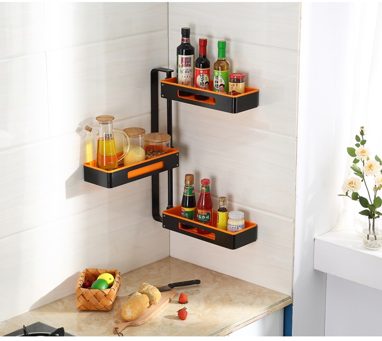 Kitchen Wall Mounted Shelves: Coloured Home Kitchen Corner Rotating Wall-mounted Shelves